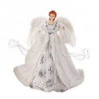 "16"" White and Silver Angel With Feather Wings"