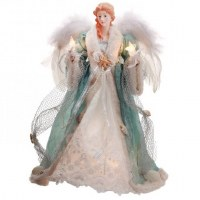 "16"" Aqua Angel With Shell In Hand Figurine"