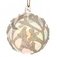 "3.5"" White Coral Glass Ball Ornament"