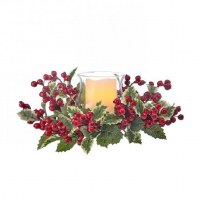 """16"""" Holly Berry Centerpiece With Glass Hurricane"""