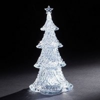 "12"" LED Battery Operated Clear 4 Tier Tree"