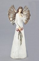 "10"" Antique White and Silver Finish Angel With Hand On Heart Figurine"