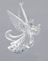 """4"""" Clear and Blue Angel With Harp Ornament"""