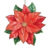 "4.5"" Red Poinsettia Shaped Polystone Ornament"
