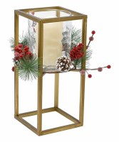 """12"""" LED Candle With Square Gold Hurricane and Pine Berry Accent"""