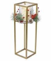 """19"""" LED Candle With Square Gold Hurricane and Pine Berry Accent"""