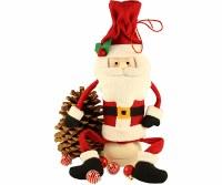 "14"" Santa With Pinecone Bottle Bag"