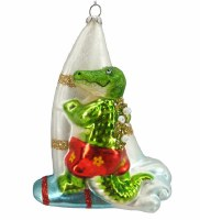 "5"" Gator Windsurfing Glass Ornament"
