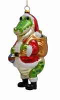 Santa Gator Glass Ornament