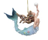 "4.5"" Blue Mermaid With Pearl Ornament"