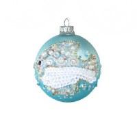 """4"""" Aqua Fish Beaded Ball Ornament"""