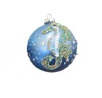 "4"" Blue Seahorse Beaded Ball Ornament"