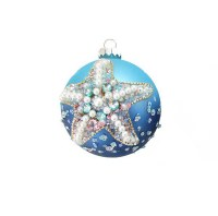 "4"" Blue Starfish Beaded Ball Ornament"