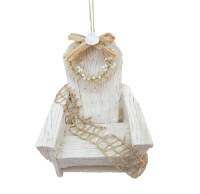 "4"" Distressed White Finish Beach Chair Ornament"