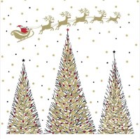 """6.5"""" Square Gold and Black Tree With Santa Lunch Napkin"""