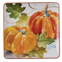 "11"" Square Oragne Pumpkin Ceramic Platter"