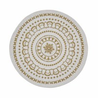"15"" Round White and Gold Medallion Placemat"