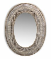 "34"" x 26"" Oval White Washed Mirror With Bamboo Branches"
