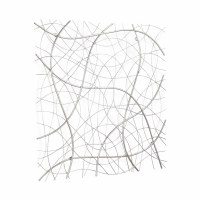 """32"""" Square Silver Wire Lines Metal Wall Plaque"""