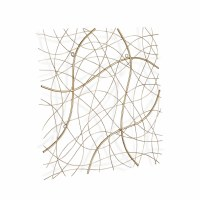"""25"""" Square Gold Wire Lines Metal Wall Plaque"""