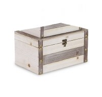 "7"" x 12"" White Washed and Brown Stripe Wooden Box"