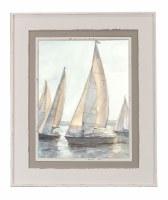 "37"" x 31"" Taupe Sailboat 1 Framed Gel Print"