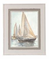 "37"" x 31"" Taupe Sailboat 2 Framed Gel Print"