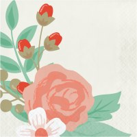 """6.5"""" Square Modern Floral Lunch Napkin"""