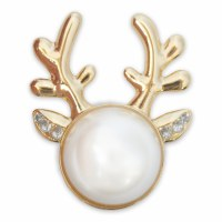 Set of 2 Blitzen Pearl With Crystal Accent Gold Reindeer Snap