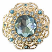 Set of 2 Honesty Gold Broach With Turquoise and Light Blue Crystals Snap
