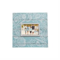 "4"" x 6"" Aqua Shell Wooden Picture Frame"