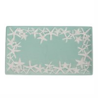 "6"" x 12"" Seafoam and White Starfish Ceramic Tray"
