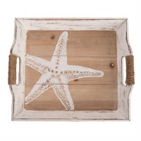 "13"" x 14"" Wooden Antique White Finish Starfish Tray"