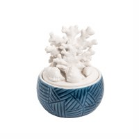 """5"""" White and Blue Coral Lid Ceramic Box"""
