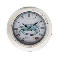 "14"" Round Antique White and Blue Finish Crab Wall Clock"