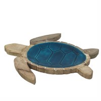 """14"""" Natural and Blue Turtle Wooden Tray"""