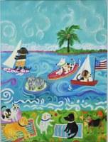 """32"""" x 24"""" Dogs on the Beach Canvas"""