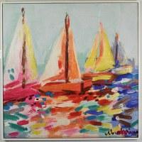 "32"" Square Multicolor Sailboats Canvas in White Frame"