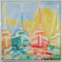 """32"""" Square Multicolor Boats Canvas in White Frame"""