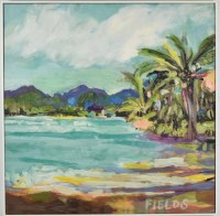 """32"""" Square Palm on Bay Canvas in White Frame"""
