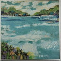 """32"""" Square Trees on Bay Canvas in White Frame"""