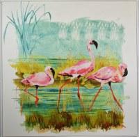 "48"" Square Three Flamingos Canvas in White Frame"