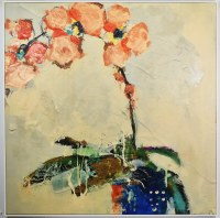 """48"""" Square Coral Orchid Canvas in White Frame"""