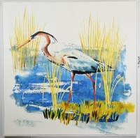 """48"""" Square Blue Heron Canvas in White Frame"""