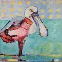 "30"" Square Roseate Spoonbill Canvas"