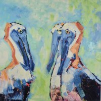 """30"""" Square Three Pelicans Canvas"""