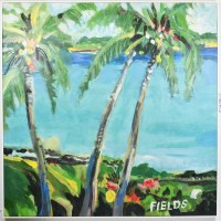 """48"""" Square Three Palm Trees on Bay Canvas in White Frame"""