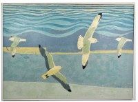 """43"""" x 59"""" Four Gray Seagulls Canvas in White Frame"""