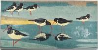 "24"" x 48"" Black and White Shorebird Canvas in White Frame"