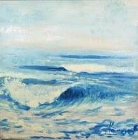 "47"" Square Light Blue Waves Canvas"
